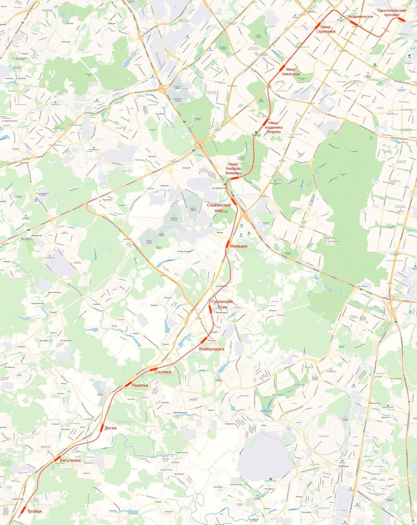 Метро в Троицк. Стало известно расположение пяти новых станций